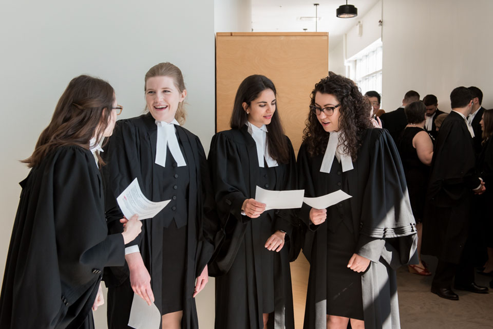 Female lawyers at bar ceremony