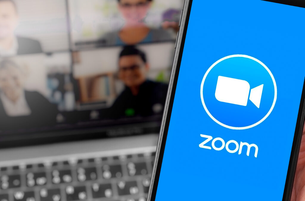 Photo with Zoom conferencing open on phone