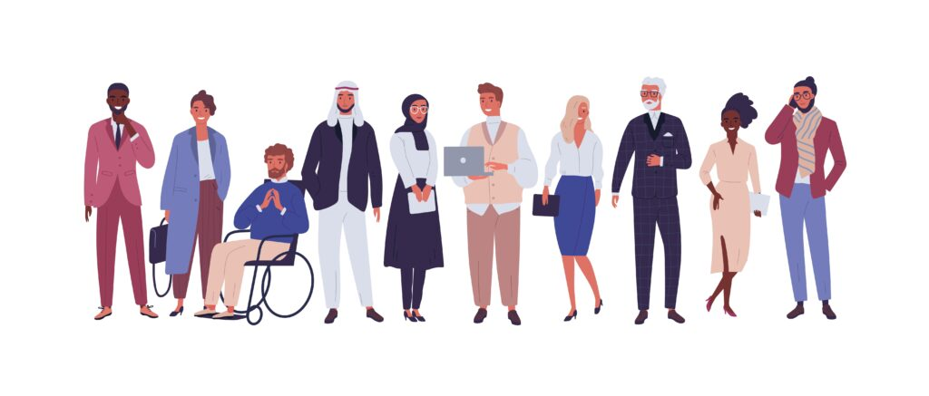 Flat cartoon of a diverse group of business people, entrepreneurs or office workers isolated on white background.